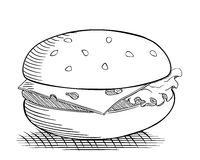 Burger drawing Royalty Free Stock Photography