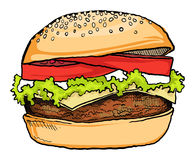 Burger. Drawn tasty looking Burger,  with salad and cheese Royalty Free Stock Images
