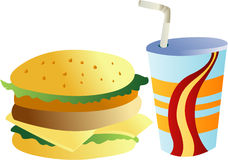Burger and drink. Illustrations Burger and drink clip art vector Stock Photography