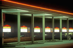 Burger drive up with neon lights at night Stock Images