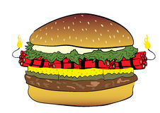Burger with dynamite. Conceptual illustration with a burger the filled dynamite Stock Photography