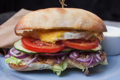 Burger with egg and onion color Royalty Free Stock Image