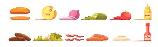 Burger Elements Set Retro Cartoon Style royalty free illustration