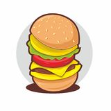 Burger emblem. Isolated object. No transparency and gradients used Stock Photo