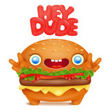 Burger emoji cute character with hey dude title Royalty Free Stock Photography