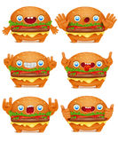 Burger emoticon cartoon character collection. Royalty Free Stock Image