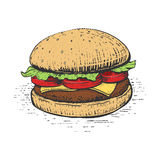 Burger engraving style vector illustration. Burger engraving style hand drawn vector illustration Stock Photos
