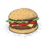 Burger engraving style vector illustration Stock Photos