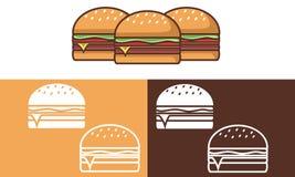 Burger für Ikone und Logo lizenzfreie abbildung
