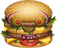 Burger face. Burger s ingredients drawing a face Stock Photos