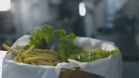 Burger falls on a plate with fries close-up. Burger falls on a plate with french fries close-up stock video footage