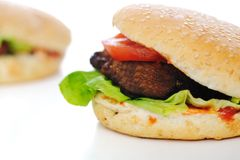 Burger, fast food. On white Royalty Free Stock Images