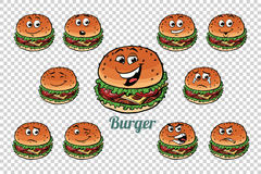 Burger fast food emotions characters collection set. Isolated neutral background. Retro comic book style cartoon pop art vector illustration Royalty Free Stock Photos
