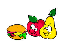 Burger fast food fruit apple and pear Royalty Free Stock Images