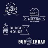 Burger, fast food logo or icon, emblem. Outline design. stock illustration