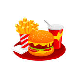 Burger Fast Food Menu Vector Illustration. Tasty Burger and French Fries with Drink. Fast Food Menu Vector Illustration isolated on white background Stock Photo