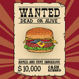Burger fast food wanted dead or alive Stock Image