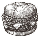 Burger. fast food on a white background. sketch Royalty Free Stock Image