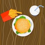 Burger, Fischrogen und Getränk Stockfotos
