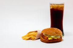 Burger. Fish burger , french fries and soft drink  is fast food on white background Royalty Free Stock Image