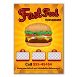Burger flyer template. Cute cartoon colored picture of fast food. Menu design elements. Vector illustration of fast food royalty free illustration