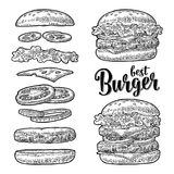 Burger with flying ingredients on white background. Vector black vintage engraving Stock Photos