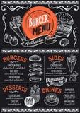 Burger menu restaurant, food template. Stock Images