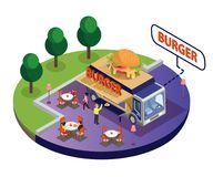Burger Food Truck Isometric Artwork where there is a park beside and people are eating food. stock illustration