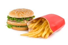 Burger and french fries Royalty Free Stock Photography