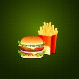 Burger and French Fries Royalty Free Stock Photo
