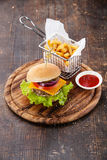 Burger and French fries Royalty Free Stock Images