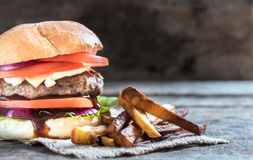 Burger and french fries Stock Photography