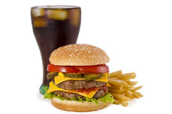Burger, french fries and cola Stock Image
