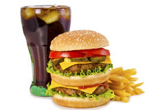 Burger, french fries and cola Stock Photo