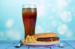 Burger, french fries and cola Royalty Free Stock Photos