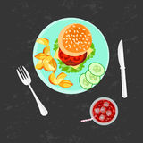 Burger, french fries and cola Royalty Free Stock Photo