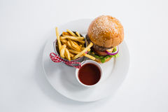 Burger by french fries in container with tomato sauce Stock Photos