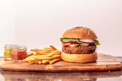 Burger and French Fries Stock Images