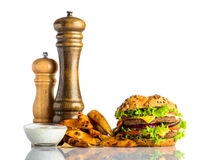 Burger with French Fries and Dipping Sauce Royalty Free Stock Photography