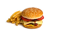 Burger with French Fries. Isolated on white Stock Photo