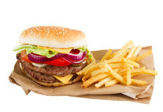 Burger and french fries  on paper Stock Photo