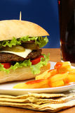 Burger, french fries and soda pop Stock Photos
