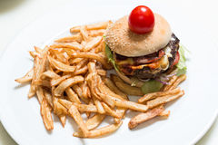 Burger and french fries Royalty Free Stock Photos