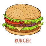 Burger with fresh herbs, onions and juicy cutlets on a white background. Colorful vector illustration in sketch style. Appetizing Burger with fresh herbs Stock Images