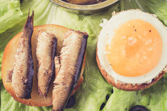 Burger with a fried egg and sardines Royalty Free Stock Photography