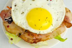 Burger with fried eggs and bacon Royalty Free Stock Photo