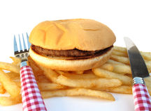 Burger and fries Royalty Free Stock Photos