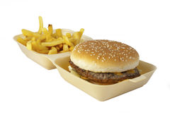 Burger and fries. Stock Images