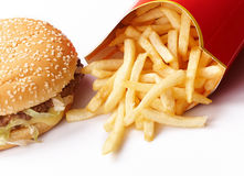 Burger and Fries. In Cardboard Fast Unhealthy Food on White Background royalty free stock image
