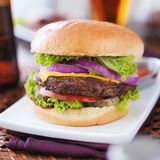 Burger with fries and beer Stock Photo